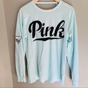 PINK VS Teal Long Sleeve Tee T-Shirt Open Back